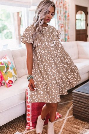 Бежевое свободное платье с леопардовым принтом