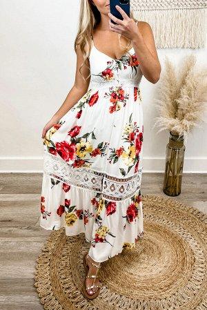 Белое платье макси с кружевными вставками и разноцветным цветочным принтом