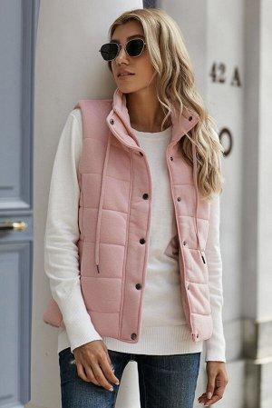 Розовый стеганый жилет с воротником-стойкой
