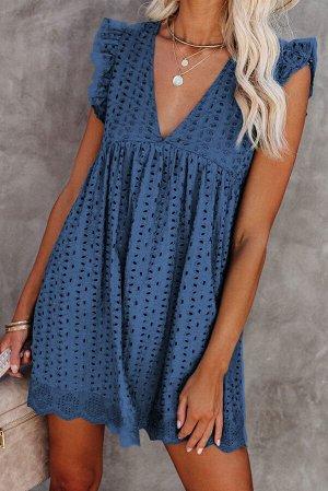 Синее платье беби-долл с V-образным вырезом и перфорацией