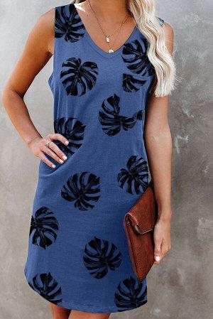 Синее платье-майка с V-образным вырезом и принтом листья