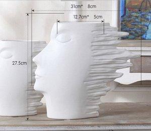 """Статуэтка-ваза """"Волосы назад"""", размер М, цвет белый"""