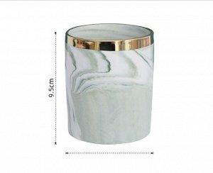 """Стакан для хранения вещей, принт """"Мрамор"""" и золотистая полоса, цвет зеленый"""