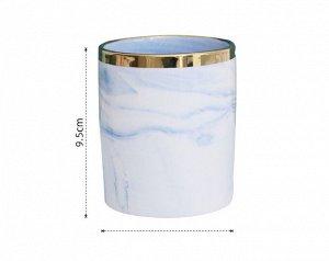 """Стакан для хранения вещей, принт """"Мрамор"""" и золотистая полоса, цвет голубой"""