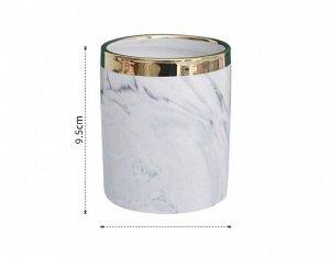 """Стакан для хранения вещей, принт """"Мрамор"""" и золотистая полоса, цвет белый"""