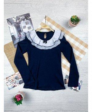 Синий школьный джемпер (блузка) для девочки Цвет: тёмно-синий