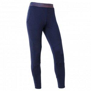 Спортивные брюки утепленные для девочек темно-синие DOMYOS