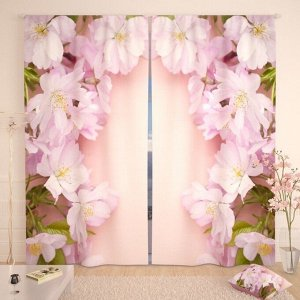 Фотошторы Розовые цветы вишни