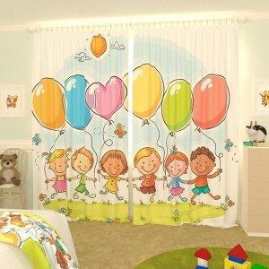 Детские фотошторы Дети с шариками