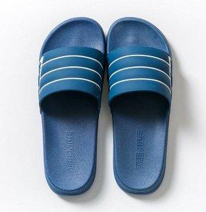 """Мужские тапочки, с открытыми пальцами, принт """"Белые полосы"""", цвет синий"""