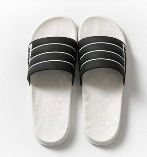 """Мужские тапочки, с открытыми пальцами, принт """"Белые полосы"""", цвет белый/черный"""