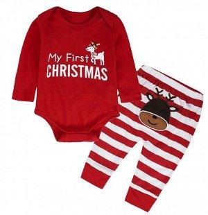 """Детские костюм, боди и штаны, принт """"Олень"""", надпись """"My First Christmas"""", цвет красный/белый"""