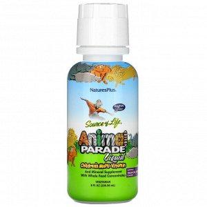 Nature's Plus, Source of Life, Animal Parade, жидкие мультивитамины для детей, вкус натуральных тропических ягод, 236,56мл (8жидк.унций)