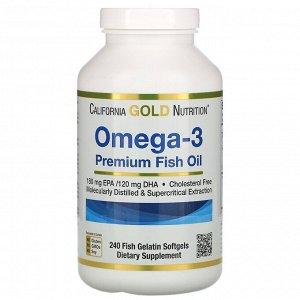 California Gold Nutrition, омега-3, рыбий жир премиального качества, 240капсул из рыбьего желатина