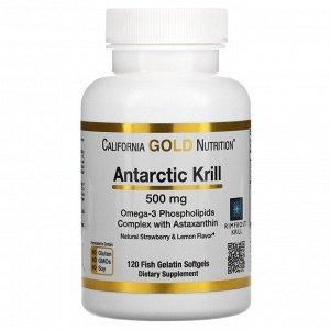 California Gold Nutrition, масло антарктического криля RIMFROST с астаксантином, натуральный клубнично-лимонный вкус, 500мг, 120рыбно-желатиновых мягких таблеток
