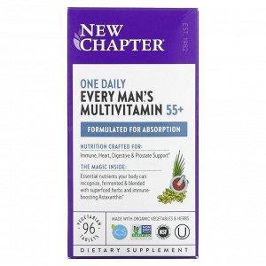 New Chapter, 55+ EveryMan'sOneDaily, мультивитаминная добавка из цельных продуктов для мужчин старше 55лет, 96вегетарианских капсул