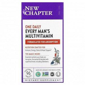 New Chapter, Every Man's One Daily Multi, мультивитаминная добавка из цельных продуктов для мужчин, 96 вегетарианских таблеток