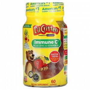 L'il Critters, Immune C, витамин С с цинком и витамином D, 60 жевательных таблеток