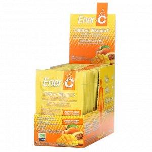 Ener-C, витамин C, смесь для приготовления мультивитаминного напитка со вкусом персика и манго, 1000 мг, 30 пакетиков, 9,64 г (0,3 унции) каждый