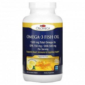 Oslomega, омега-3 из рыбьего жира, 750 мг ЭПК, 500 мг ДГК, со вкусом натурального лимона, 180 мягких таблеток из рыбьего желатина