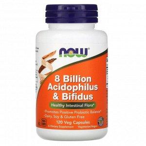Now Foods, 8 млрд ацидофильных и бифидобактерий, 120 вегетарианских капсул
