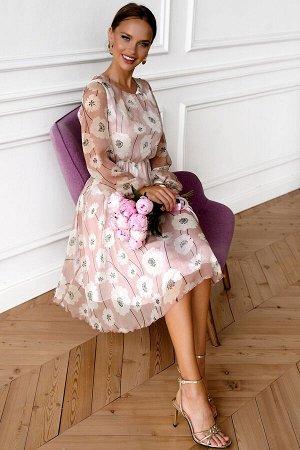 Платье Шикарное шифоновое платье с подкладом. Длинный прозрачный рукав и расклешенная юбка придают наряду особый шик! Нежный цветочный принт легко придаст образу женственности, романтики и воздушности
