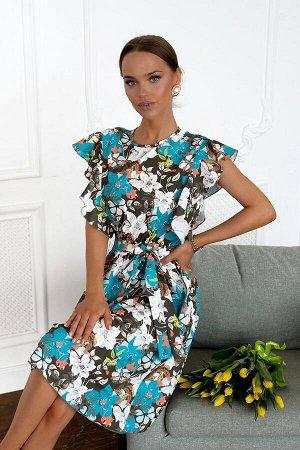 Платье Задорный и одновременно комфортный вариант для повседневной носки и особенных событий. Цветочное платье -лучший наряд для женщин и девушек! Модель с шикарными рукавамив виде воланов .Современны