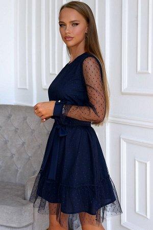 Платье Изысканная и оригинальная модель платья выполнена из сетки в мелкий горох.. В данном изделии одновременно сочетается прозрачная воздушная ткань и однотонный приятный подклад глубокого синего цв