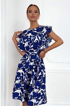 """Платье Легкое летнее патье принтованное синими цветами идеально для сезона весна-лето! Фасон изделия с расклешенной юбкой. Основной акцент в ярко выраженных рукавчиках. Это """"крылышки"""" из рюш - смотрит"""