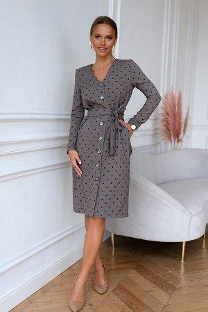 Платье Теплое платье -футляр в горох с длинным рукавом. Самая эффектная и неподражаемая модель в новом сезоне. По всей длине платье застегивается на пуговицы. Ремешок идет в комплекте. Лаконичный, сде