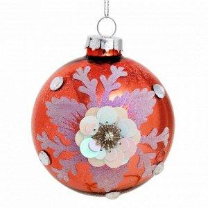Новогоднее подвесное украшение Шар с цветком 8x8x8