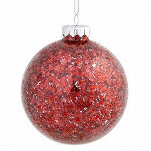 Новогоднее подвесное украшение шар Красный 8