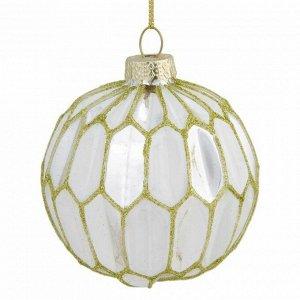 Новогоднее подвесное украшение шар Белый с серым 8