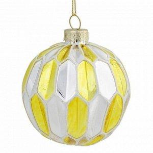 Новогоднее подвесное украшение шар Золото с серебром 8