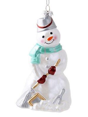 Новогоднее подвесное украшение Снеговик с метлой