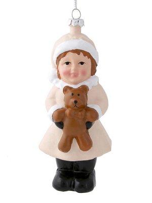 Новогоднее подвесное украшение Ребёнок с мишкой