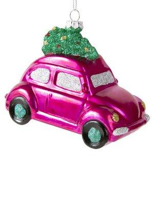 Новогоднее подвесное украшение Машинка с ёлкой