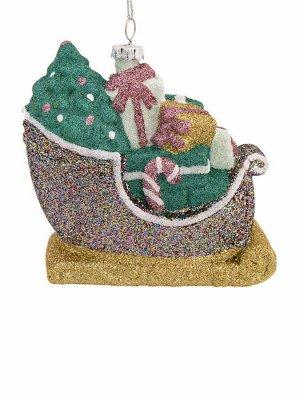 Новогоднее подвесное украшение Сани с подарками