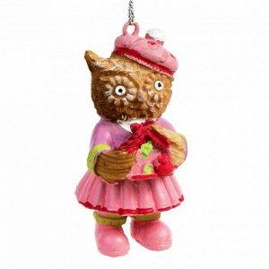 Новогоднее подвесное украшение Сова в розовом 3х3х5