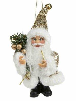 Новогодняя подвесная фигурка Дед Мороз в золотистой шубке, 9x5x13