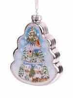 Новогоднее подвесное украшение Ёлочка с ярусами из стекла / 2,7x6,5x11,3см арт.87219