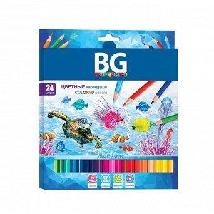 """Карандаши цветные BG """"Maritime"""", 24цв., шестигранные, 2,8мм, европодвес"""
