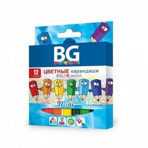 """Карандаши цветные BG """"Mini"""", 12цв., шестигранные, 3,0мм, заточенные, европодвес"""