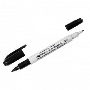 "Маркер перманентный двухсторонний Crown ""Multi Marker Twin"" черный, пулевидный, 2мм/1мм"