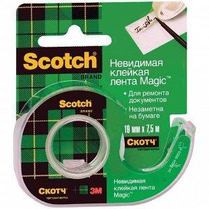 """Клейкая лента 19мм*7,5м, Scotch """"Magic"""", невидимая после наклеивания, мини-диспенсер"""