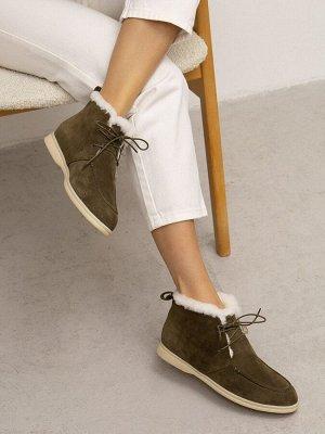 Полуботинки на шнуровке с мехом W007/folio