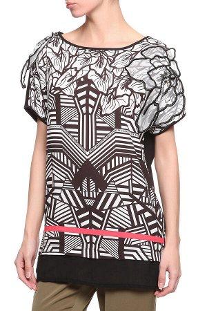 Женская туника текстильная с отделкой из трикотажа