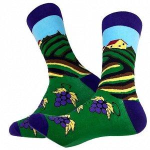 """36017 Дизайнерские носки серии Весело и вкусно """"Плантации винограда"""", р-р 38-44 (зеленый сиреневый)"""