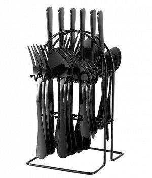 Набор столовых приборов на подставке (24 предмета), цвет черный