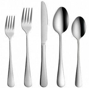 Набор столовых приборов (5 предметов), цвет серебряный